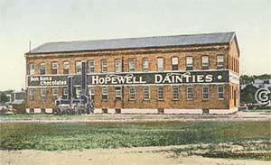 Hopewell Dainties (The Chocolate Factory) -- Vintage postcard, Hopewell NJ
