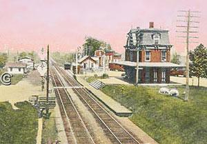 Philadelphia & Reading RR Depot and Train Station -- Vintage postcard, Hopewell NJ