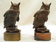 PAIR Antique Armor-Copper/Bronze OWL BOOKENDS