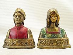"""""""Dante and Beatrice"""" Galvano Bronze Bookends"""