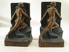 """The Builder"" Man-Like-Atlas Bronze Bookends"