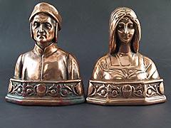 """Dante and Beatrice"" Galvano Bronze Antique Bookends"