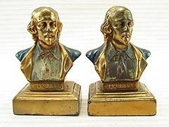 """Shakespeare Bust"" Armor Bronze Bookends"