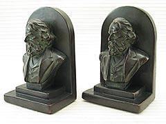 """Longfellow"" Galvano Bronze Bookends"