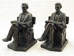 """""""Lincoln"""" Galvano or Pompeian Bronze Bookends"""