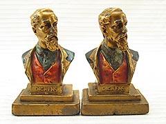 """Dickens Bust"" Armor Bronze Bookends"