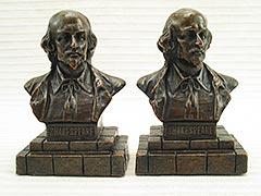 """Shakespeare Bust"" Galvano Bronze Bookends"