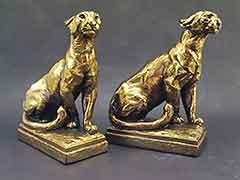 """Lion"" Lioness BIG Marion Bronze Bookends"