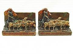 Shepherd Girl and Flock Armor Bronze Bookends