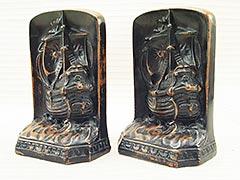 """Galleon at Sea"" 1920s Sailing Ship Bronze Bookends"