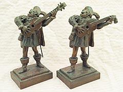Entertainer musician Pompeian Bronze Bookends