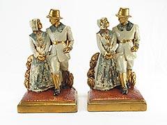 """Pilgrims"" Thanksgiving Armor Bronze Bookends"