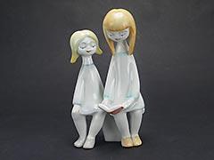 "Hollohaza 1950s ""Two Girls Reading"" Porcelain Figurine"