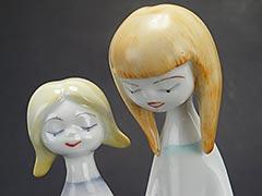 "Product photo #100_8241 of SKU 21004001 (Hollohaza 1950s Porcelain Figurine ""Two Girls Reading"")"