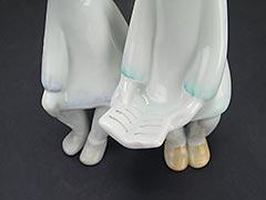 "Product photo #100_8243 of SKU 21004001 (Hollohaza 1950s Porcelain Figurine ""Two Girls Reading"")"