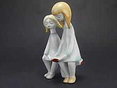 "Product photo #100_8244 of SKU 21004001 (Hollohaza 1950s Porcelain Figurine ""Two Girls Reading"")"