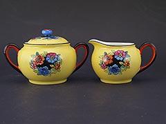 1920s Noritake Sugar Bowl and Creamer, Hand-Painted Flowers