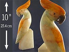 Product photo #100_8790 of SKU 21001340 (BIG Vintage Carved Alabaster Cockatoo Bookends, Parrot Bird)